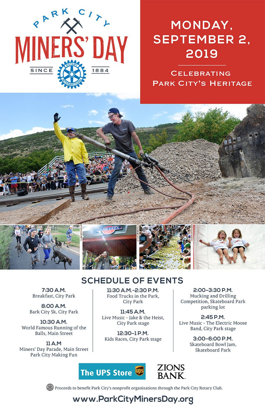 Making FUN in Park City is the theme of the annual Miners' Day parade down historic Main Street, attracting marching bands and community floats as Park City celebrates its mining heritage.  Put your blanket down on the curb with the kids and be ready for the fun. The parade is scheduled for 11:00 a.m., just after the annual Running of the Balls down Main Street. The parade route runs the length of Main Street, before skipping over to Park Avenue and on down to City Park.